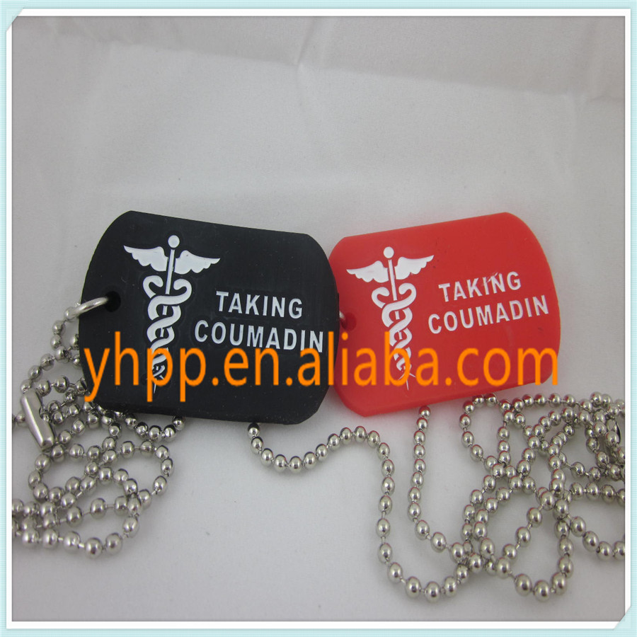 Medical Alert ID AKING COUMADIN Tag Silicone Dog Tag Pendant Necklace