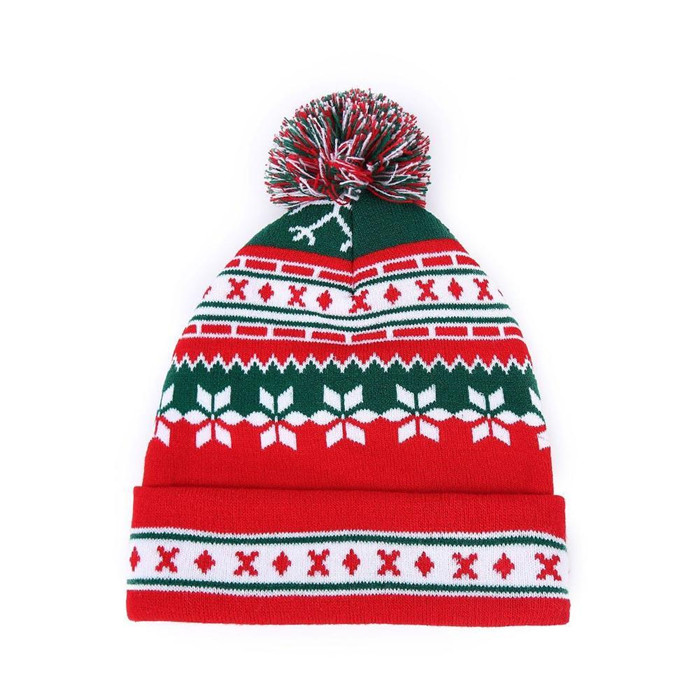 74a8c298848 Fancy Christmas Santa Hat Pom Pom Beanie Hats Wholesale Warm Custom  Jacquard Beanie Meaningful Gift