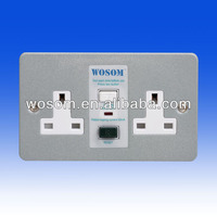 13A RCD protected socket Twin Unswitched Metal Clad
