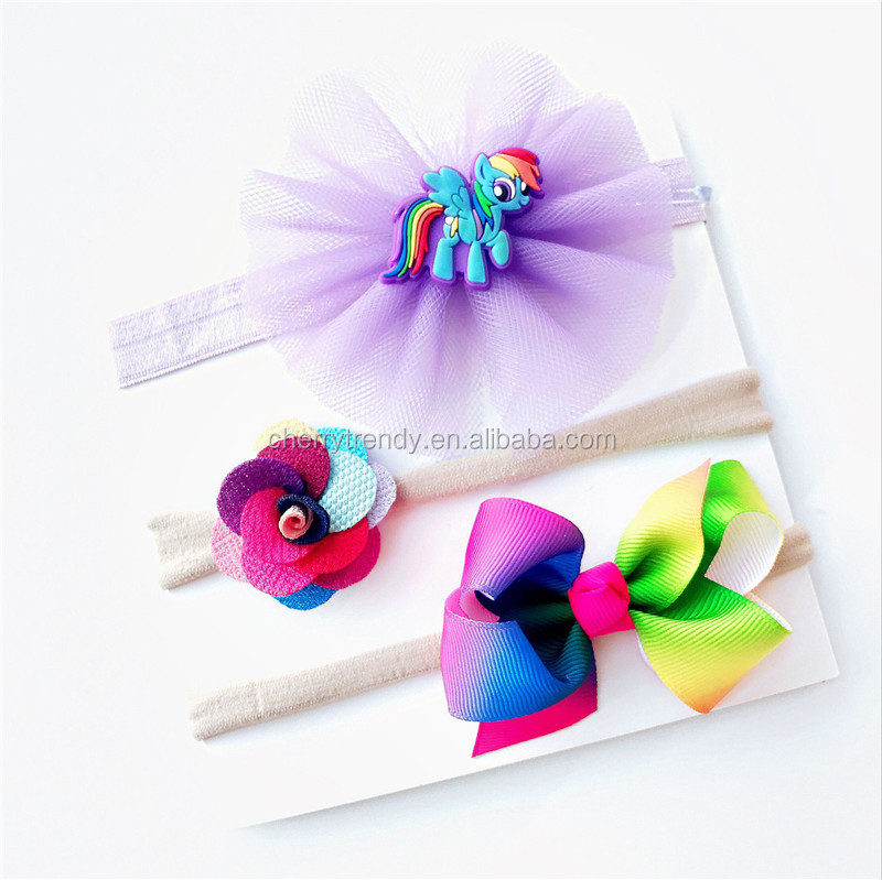3 pcs Baby Girls Infant Unicorn Headband Flower Bow Elastic Hair Band Accessories