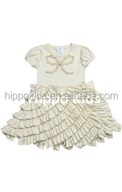 Gorgeous princess ivory ruffled dress girls frocks designs wholesale children's boutique clothing girls dress