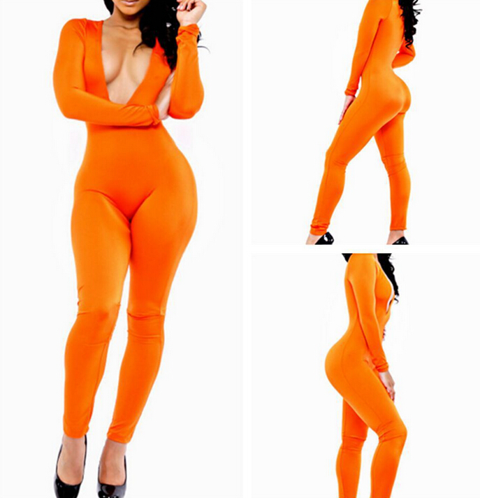 2016 SEXY V-NECK JUMPSUITS FOR LADIES ORANGE JUMPSUITS LONG SLEEVE