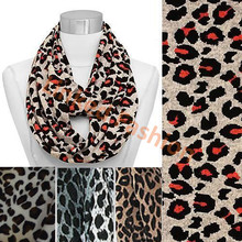 Double Sided Leopard Pattern Jersey Loop/Infinity Scarf, Orange/Black Animal cachecol,bufanda infinito,bufanda