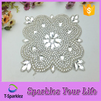 Factory Price Beaded Iron on Crystal Rhinestone Patches For Wedding Dresses