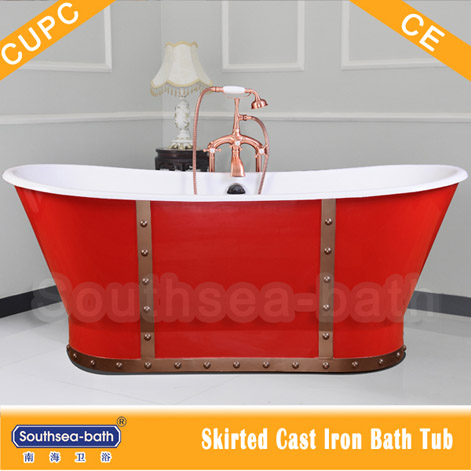 NH-1008-5-RED Red painted classical skirted freestanding cast iron bathtub