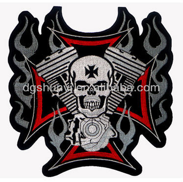 Cross, Motor and Skull Biker Motorcycle Embroidery Jacket Vest Waistcoat Patch/SKULL EMBROIDERY BADGES/CUSTOM SKULL PATCH
