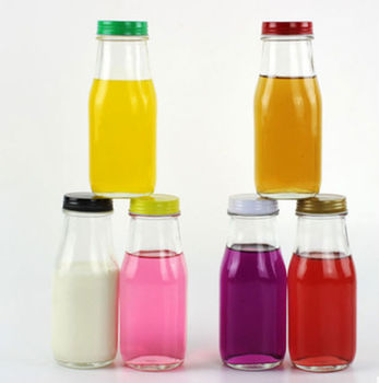 8 oz Juice Clear Glass Material Empty Bottle with Different Colors Lid