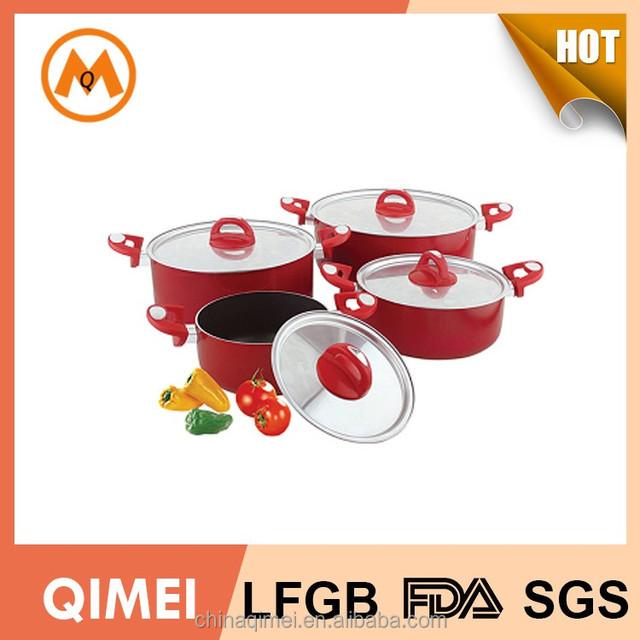 10pcs non stick aluminum casserole set with glass lid