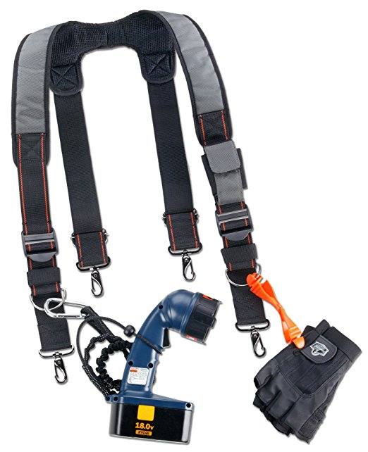 Free Sample Factory Price Padded Adjustable Tool Belt Suspenders With Front Pocket