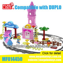FUNLOCK Duplo Battery Operated Princess Castle Train Set Children Plastic Building Blocks for Girl