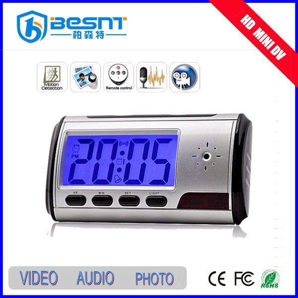 Besnt wireless smallest USB table clock camera with 8gb sd card alarm Clock mini Camera BS-746