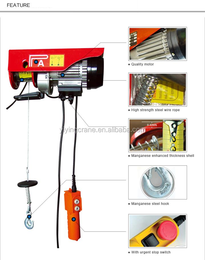 Pa Mini Electric Hoist Trolley Overhead Cranes