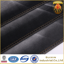 Fashion black color cotton polyester spandex twill knitted denim fabric for jeans