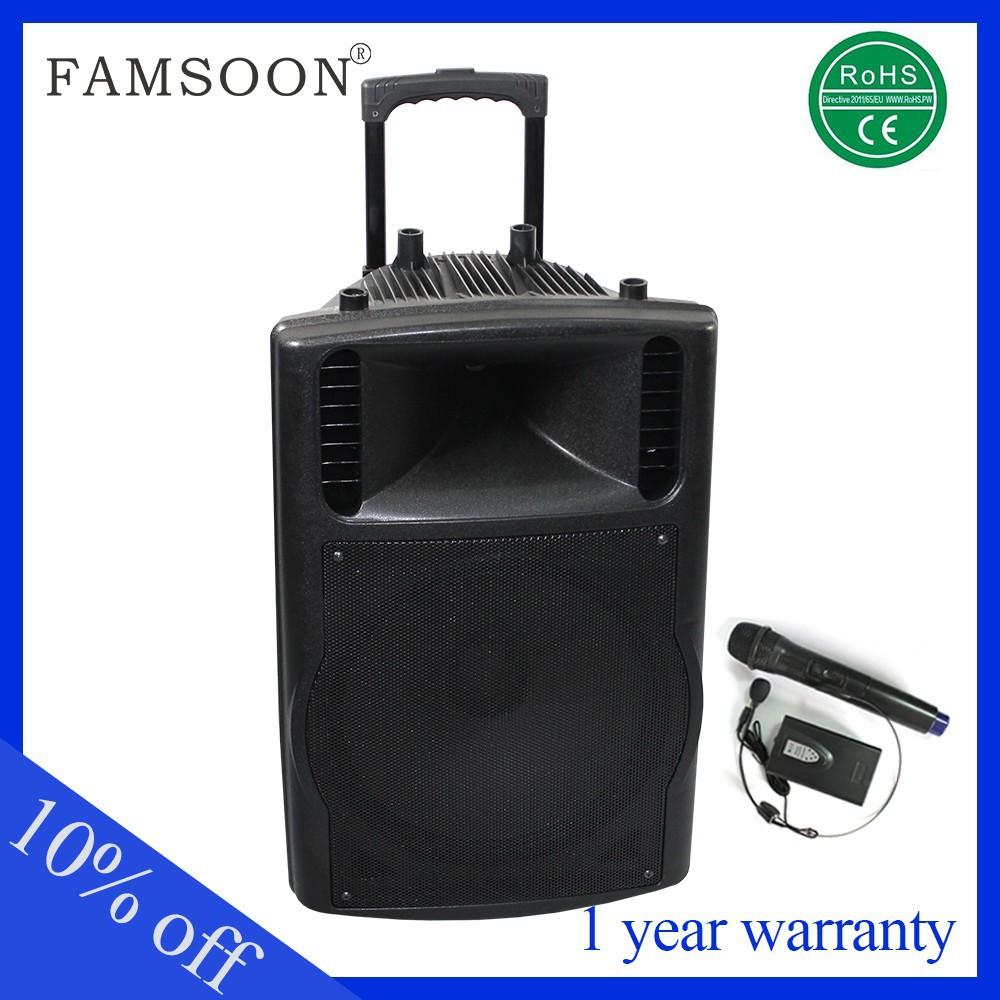 professional 15 inch woofer 200w portable speaker dj with fm trolley and wheels
