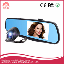 Hot selling cheap Dual lens 2ch 4.3 inch 1080P FHD rearview mirror two cameras car DVR dash cam