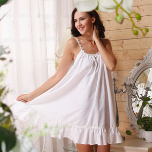 Summer New Sleep Lounge White Home Dress Sexy Princess Nightgown Sleeveless Cotton Vintage Sleepwear Camisao Nightdress