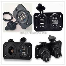 Special 12v waterproof panel mount motor cycle double usb power socket with two hole plates