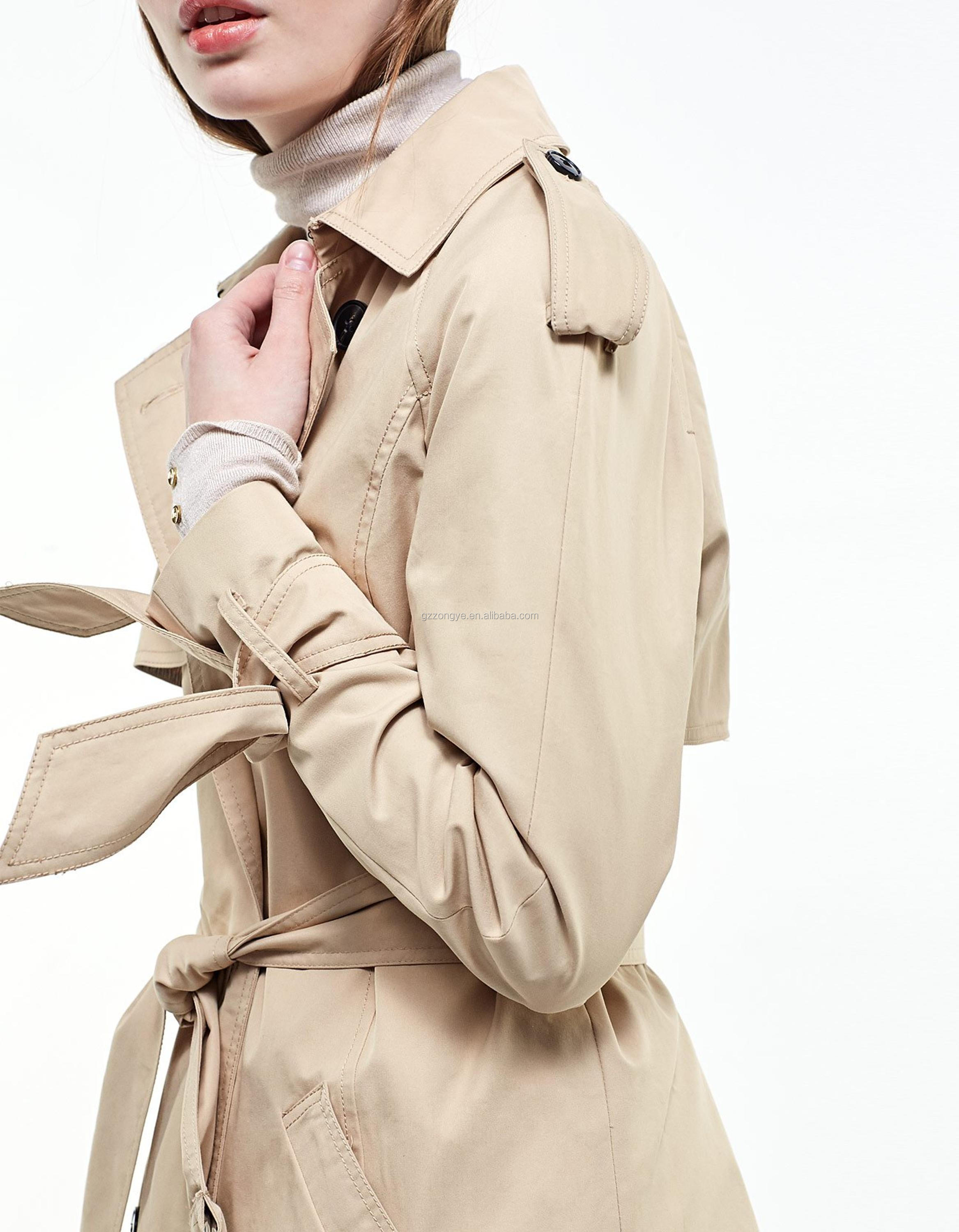 European loose-fitting beige coat with a long style trench woman winter coat China garment manufacture