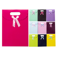 New style handmade printed paper gift bags with ribbon bow tie