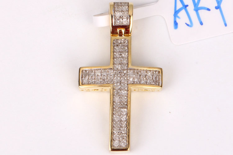 Polly wholesale Antique 925 Sterling Jesus Christ Angel Wing Gold Cross Pendant