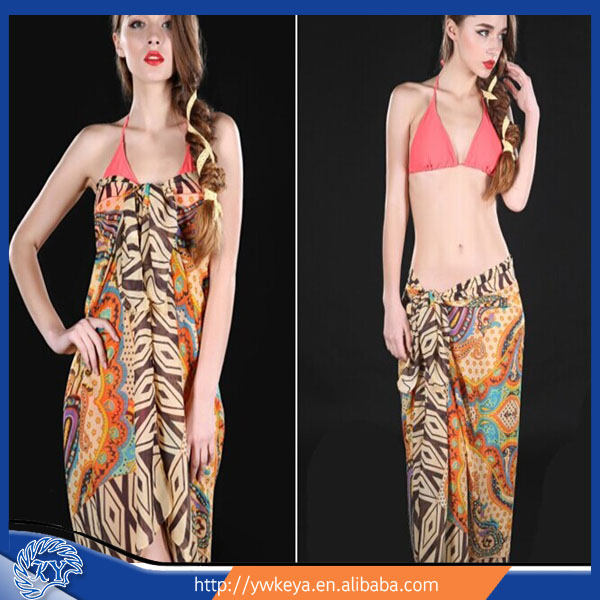 Beach Pareo Sarong in fashion polyester chiffon fabric