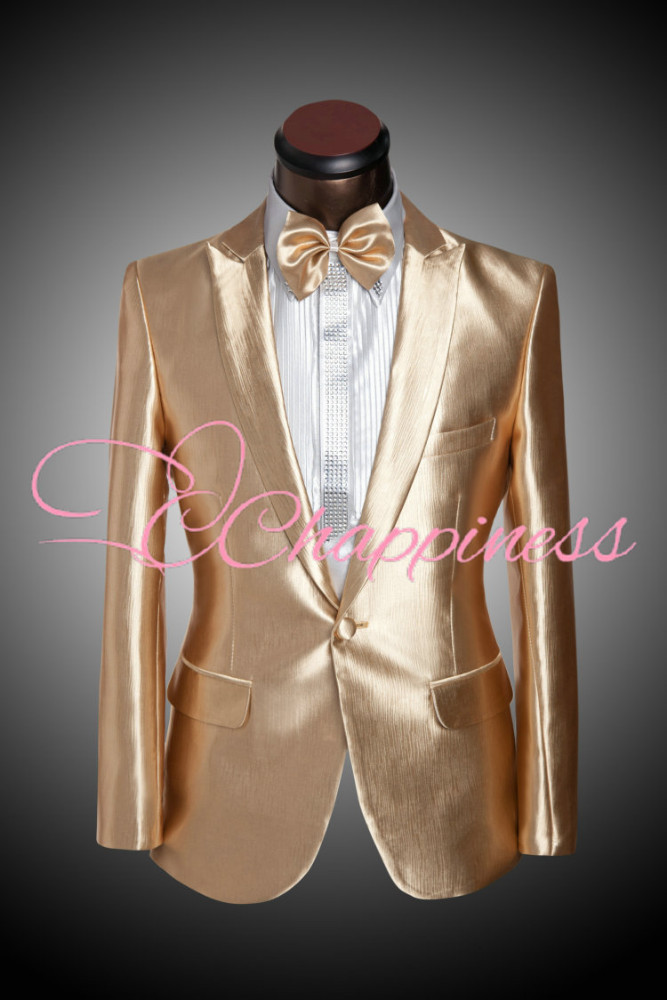 Men Costumes Gold Red Wine 2 color mens suits with pants men groom tuxedos shiny suits