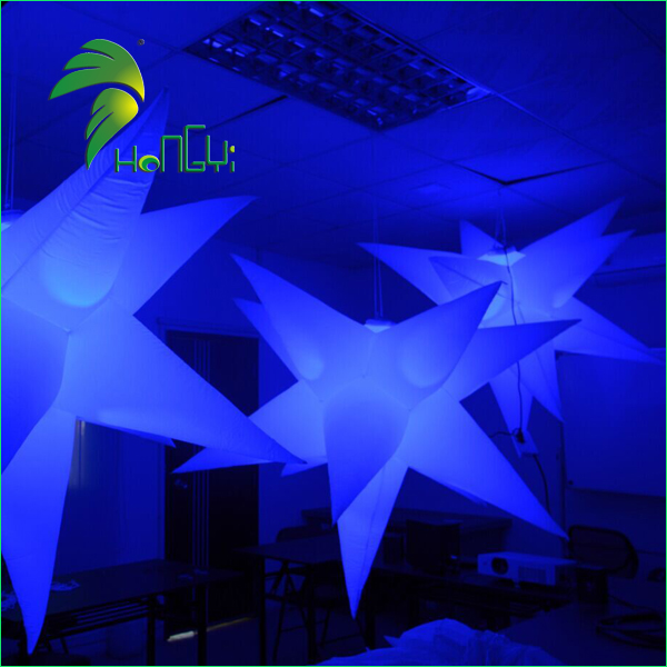 Factory Supplier Inflatable Colorful Star with led Bright Light