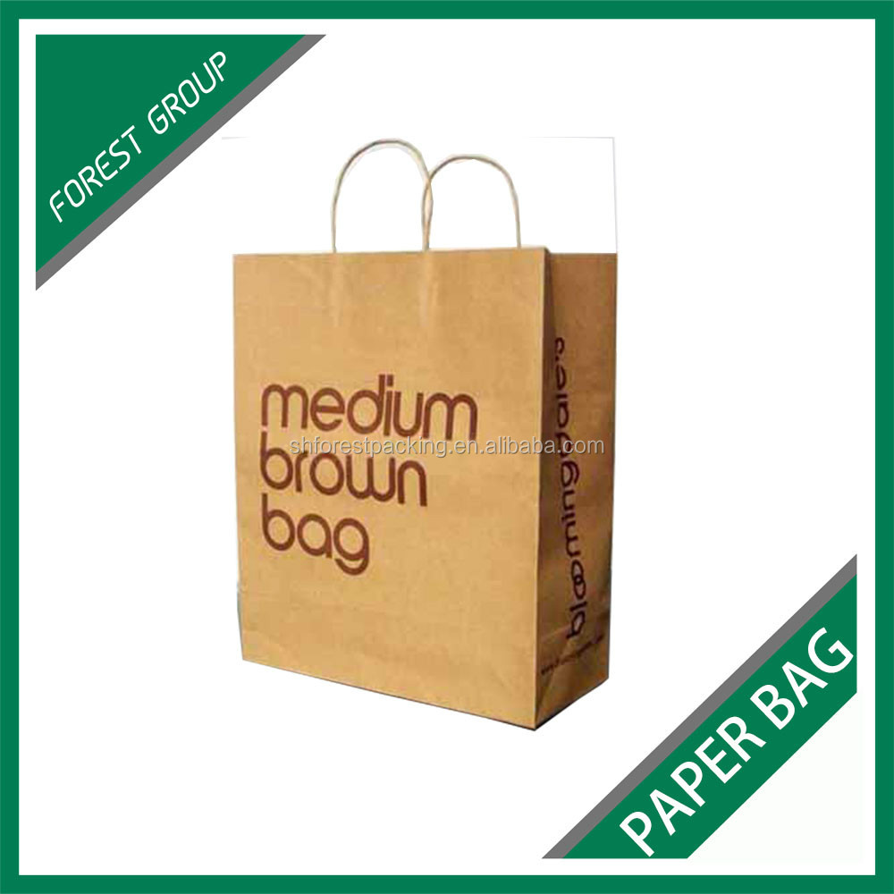 WHOLESALE MEDIUM SIZE BROWN PAPER BAG FOR PACKING BOOKS WITH LOGOS PRINTING