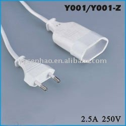 European vde 2-pin power extension cord plug with socket