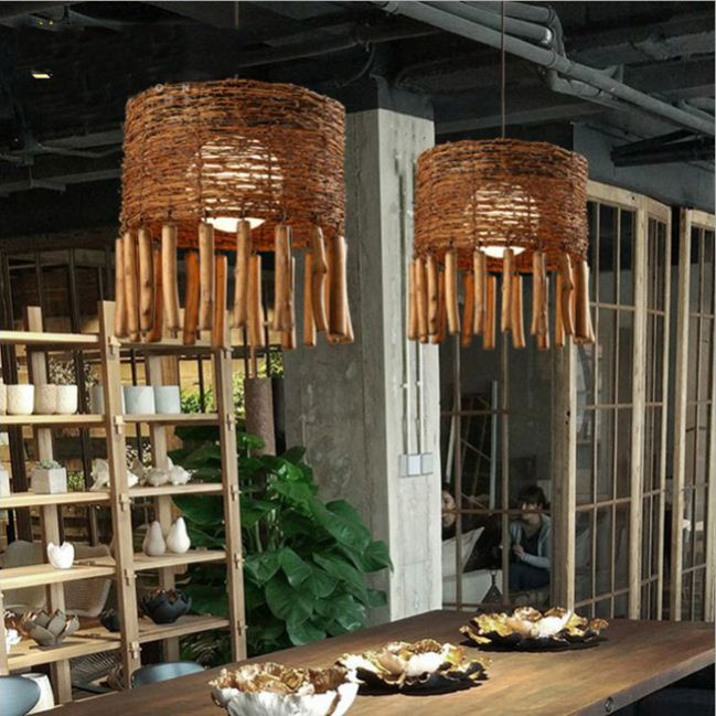 1 Light 35cm Wooven Rattan Pendant Lamp Shade Ceiling Lighting Fixture Natural Wood Veneer Floor Lamp Set Of Two