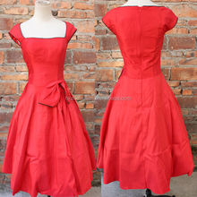 china supplier New Vintage 1950s 60s Rockabilly Retro Pin-up Red Bow Swing Party Evening Dress wedding dress