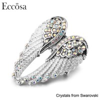 Eccosa New Design Ladies Finger Ring Angel's Wing Shaped Rhinestone Stretch Ring