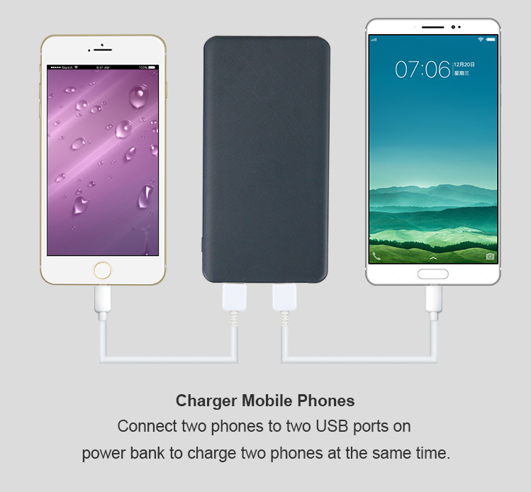 Smart card 5000mah battery mobile phone power bank with only 8mm thickness