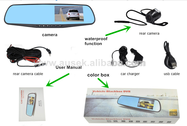 4.3inch Dual Lens Car dash Camera DVR Video recorder Rearview Mirror camera