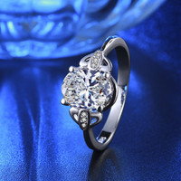 R276 Hot PT900 Platinum white gold Double plated rings for women CZ Diamond Crystal rings wedding bijou gem jewel Ring jewelry