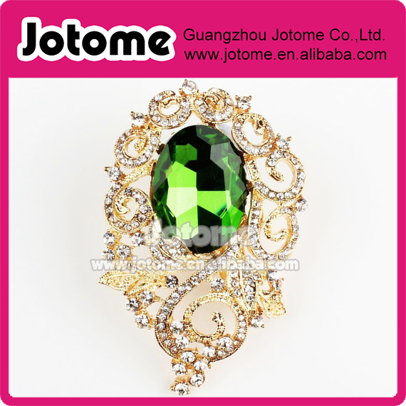 Green crystal teardrop Rhinestone gold leaf flower pendant Brooch pin
