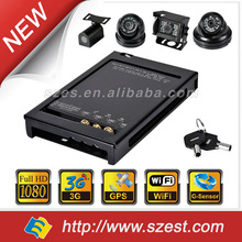 Vehicle surveillance 1080P+3G+WIFI+GPS+G-Sensor Compact size Works as WIFI AP 4 Channels Hard Disk Mobile MDVR
