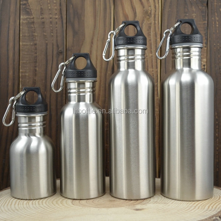 Wide Mouth Different Volume Single Wall Stainless Steel Water Bottle With Plastic Lid
