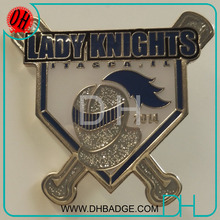 Custom Lady Knights team silver glitter epoxy baseball pin for baseball bag
