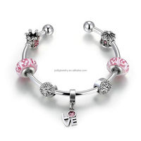 2018 New Arrival Pink Coloured Glaze Cupcake Crown Love Letter Hanging Pendant Charming Bead Silver Plated Open Bangle