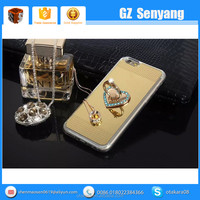 New Products Rhinestone Ring Holder Soft Mirror Case for iphone 6 6 Plus