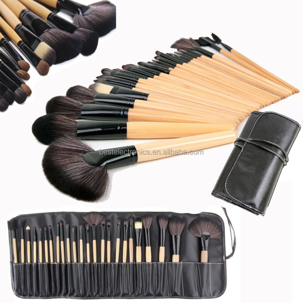 24 Pcs Professional Wood Make Up Brush Set Foundation Brushes Kabuki Makeup Brushes