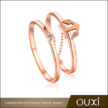 Hottest sale stackable 18K latest model rose gold plated personalized diamond ring for ladies