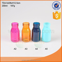 small colored glass Milk Bottle with lid and straw 200ml