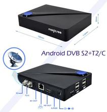 New !!! Android 6.0 DVB T2 DVB S2 c live stream pakistan satellite receiver 2G 16G Digital HD Android Smart Box TV android dvb