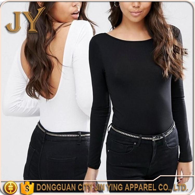 Alibaba China Long Sleeve T-shirts Scoop Back Body T-shirts Bodycon Fit T-shirts Clothing