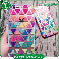 Simple style 3D sublimation tpu colorful triangle printing case for iphone 6