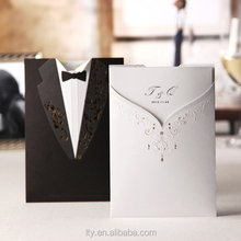 cheap wedding card & customized invitation card & butterfly shape for blue wedding invitation card