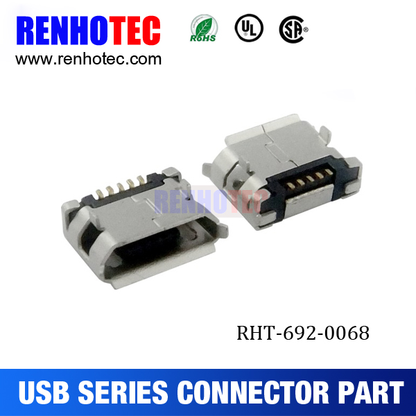 usb for electronic equipment, micro usb 5pin connector, micro usb 5p female B type DIP 5.65 with padstack