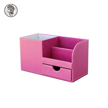 Modern PU Leather Office Accessories Storage Box Desk Organizer for Decorative